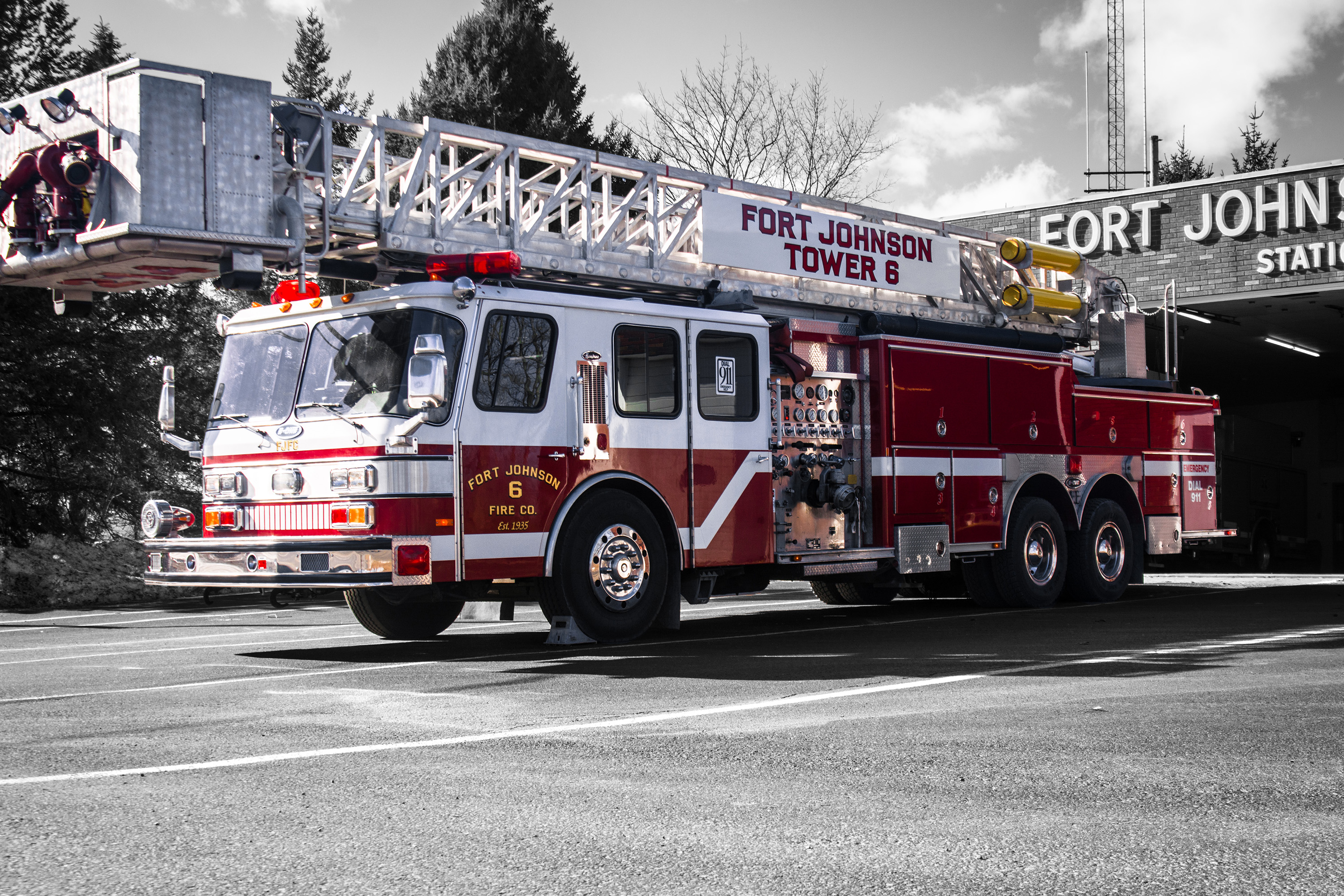 A photo of tower 6 with selective color showing a back background.