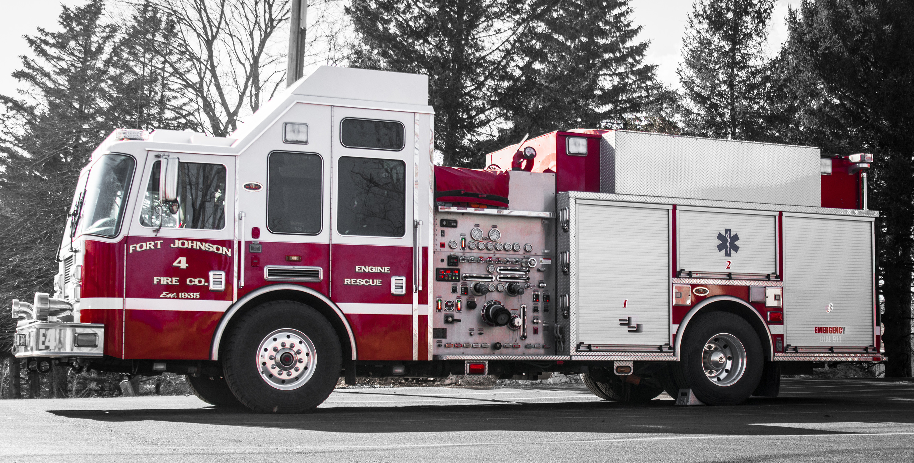 A photo of engine 4 with selective color showing a back background.